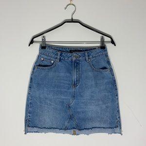 Dynamite Denim Skirt with Fringe Hem